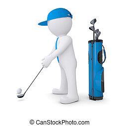 3d weißer Mann spielt Golf