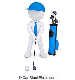 3d Weißer spielt Golf