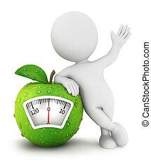3d-weißes Menschen-Apfel-Konzept