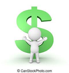 3D-Zeichen mit einem großen grünen Dollar-Symbol dahinter