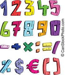 3D Zeichentrick-Nummern.