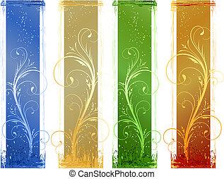 4 Abstract Grunge-Banner mit Blumenmusterelementen