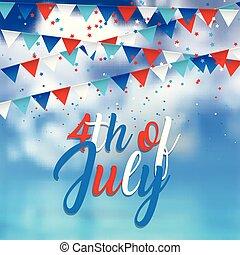4. Juli Design mit Konfetti und Anhängern auf blauem Himmel Hintergrund 2905.