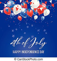 4. Juli Independence Day Hintergrund mit Ballons und Konfetti.