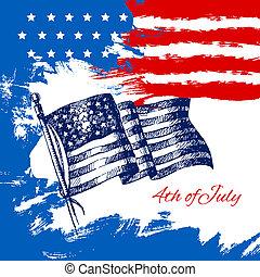 4. Juli mit amerikanischer Flagge. Independence Day-Hand gezeichnet Zeichnung Design