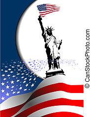 4. Juli , Unabhängigkeitstag der Vereinigten Staaten von Amerika. Amerikanische Flagge mit Adlerbild. Vector