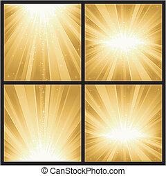 4 verschiedene goldene Lichter brechen mit magischen Sternen. Toll für festliche Themen, wie Weihnachten oder neue Jahre.
