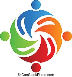 4, zusammen, logo, mannschaft, vektor