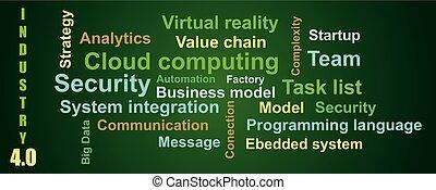 4.0, bedingungen, vektor, hintergrund, über, wolke, wort, farbe, stil, wohnung, grün, industriebereiche