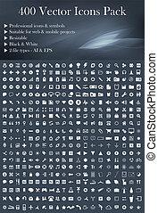 400 Vektor Icons Rudel (weiß)