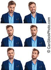 6 Stimmungen eines jungen, sexy Mannes.