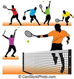 6 Tennisspieler spielen Silhouette