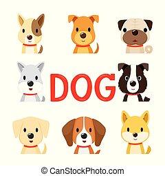 8 Hundegesichter, Jahr des Hundes.