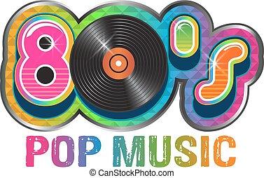 80er Pop Music Vinyl Disc Logo.