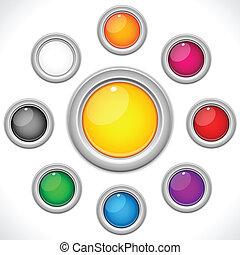 9 farbenfrohe Knöpfe