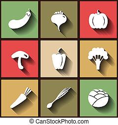 9 flache Icons