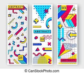 90s, elemente, senkrecht, banners., einfache , abstrakt, shapes., linien, drei, mehrfarbig, formen, kreise, trends, dreiecke, geometrisch, memphis