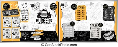 a4, bar, a3, -, schablone, menükarte, größe, hamburger