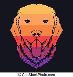 abbildung, apportierhund, bunte, goldenes, hund, retro