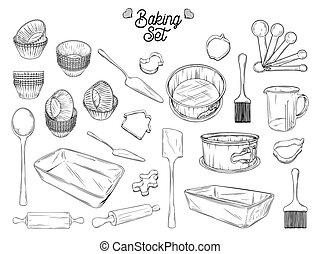 abbildung, backen, vektor, geschirr, füllen, baking., satz