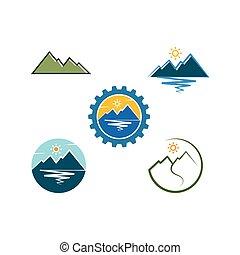 abbildung, berg, design, ikone, hoch, vektor