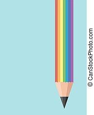 abbildung, bleistift, schreibende, regenbogen, kreativ