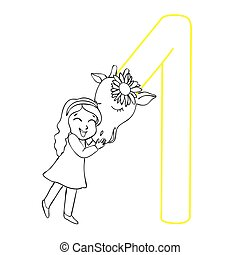 abbildung, children., m�dchen, erwachsene, giraffe., buch, färbung, hand-drawn., vektor, umarmen