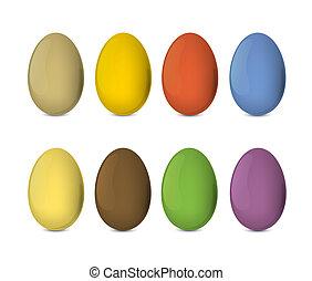 abbildung, eier, eps10., bunte, realistisch, vektor, ostern, set.