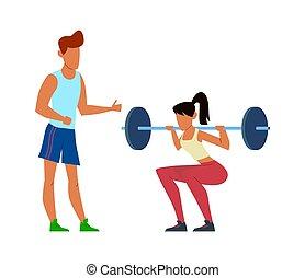 abbildung, gebrauchend, powerlifter, hantel, aktive, bodybuilding, trainer, m�dchen, schwer , frau, trainer, sport, turnhalle, fitness, sportkleidung, vektor, hocken, begriff