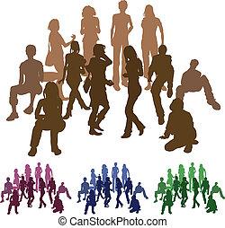 abbildung, gruppe, silhouette, friends