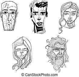 abbildung, hand, vektor, menschliche , gesichter, gezeichnet