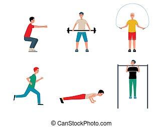 abbildung, heiligenbilder, vektor, mens, satz, aktivität, isolated., sport, wohnung, physisch