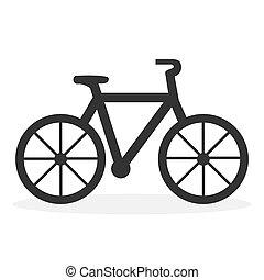abbildung, hintergrund., icon., fahrrad, weißes, freigestellt, wohnung, vektor