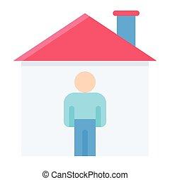 abbildung, ikone, daheim, wohnung, stil, aufenthalt, vektor