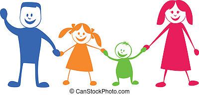 abbildung, karikatur, family., glücklich