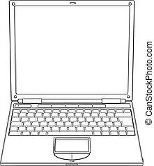 abbildung, laptop, vektor, grobdarstellung