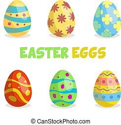 abbildung, ostern, satz, vektor, -, eier