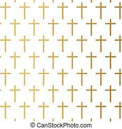 abbildung, pattern-, vektor, goldenes, kreuz, christ, religion