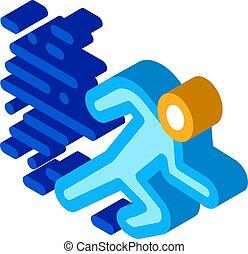 abbildung, rennender , ikone, vektor, menschliche , isometrisch