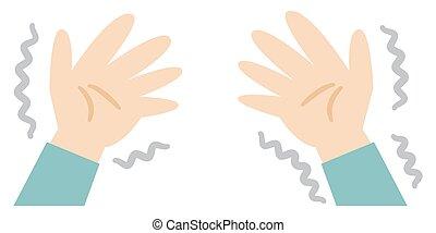 abbildung, schütteln, wohnung, hand