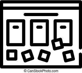 abbildung, schwarz, ikone, linie, brett, vektor, aufgabe