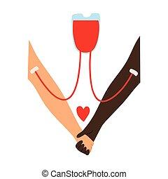 abbildung, spender, bluttransfusion, wohnung, empfänger, hand, style., rotes , vektor, herz, karikatur, zeichen., s