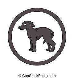 abbildung, stammbaum, vektor, parlor., canine., hund, mascot., reizend, doggie, freigestellt, haustier, rasse, junger hund, training, club., inländisch, purebred, kreis, windhund, hundehütte, karikatur, clipart.