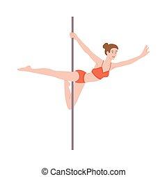 abbildung, tänzer, isolated., stange, aktivität, tanz, führt, fitness, vektor, wohnung