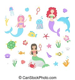 abbildung, underwater, satz, nixe, vektor, reizend