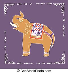 abbildung, vector., elefant