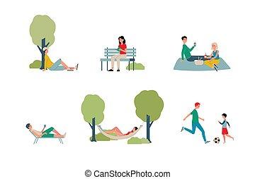 abbildung, vektor, aktivität, parken stadt, leute, wochenenden, wohnung, -