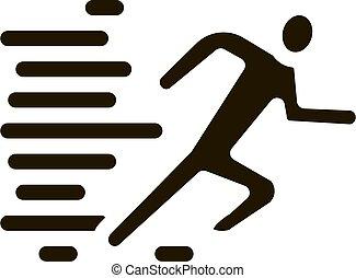 abbildung, vektor, glyph, ikone, menschliche , rennender