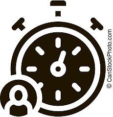 abbildung, vektor, glyph, stoppuhr, ikone, menschliche