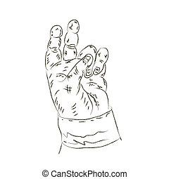 abbildung, vektor, hand., menschliche , gezeichnet
